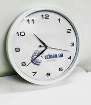 Часы настенные с логотипом,  фотографией. Разных размеров и цветов.